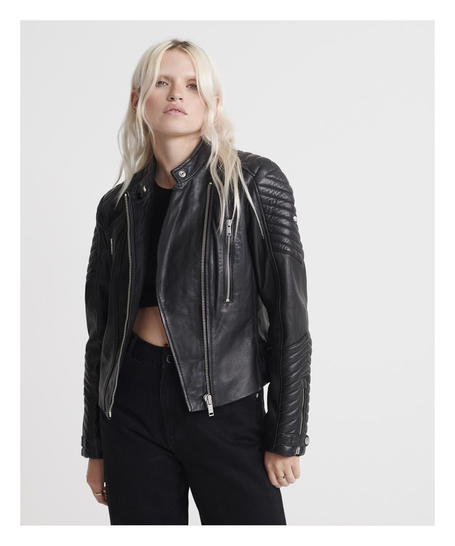 Image for Superdry Essentials Leather Racer Jacket
