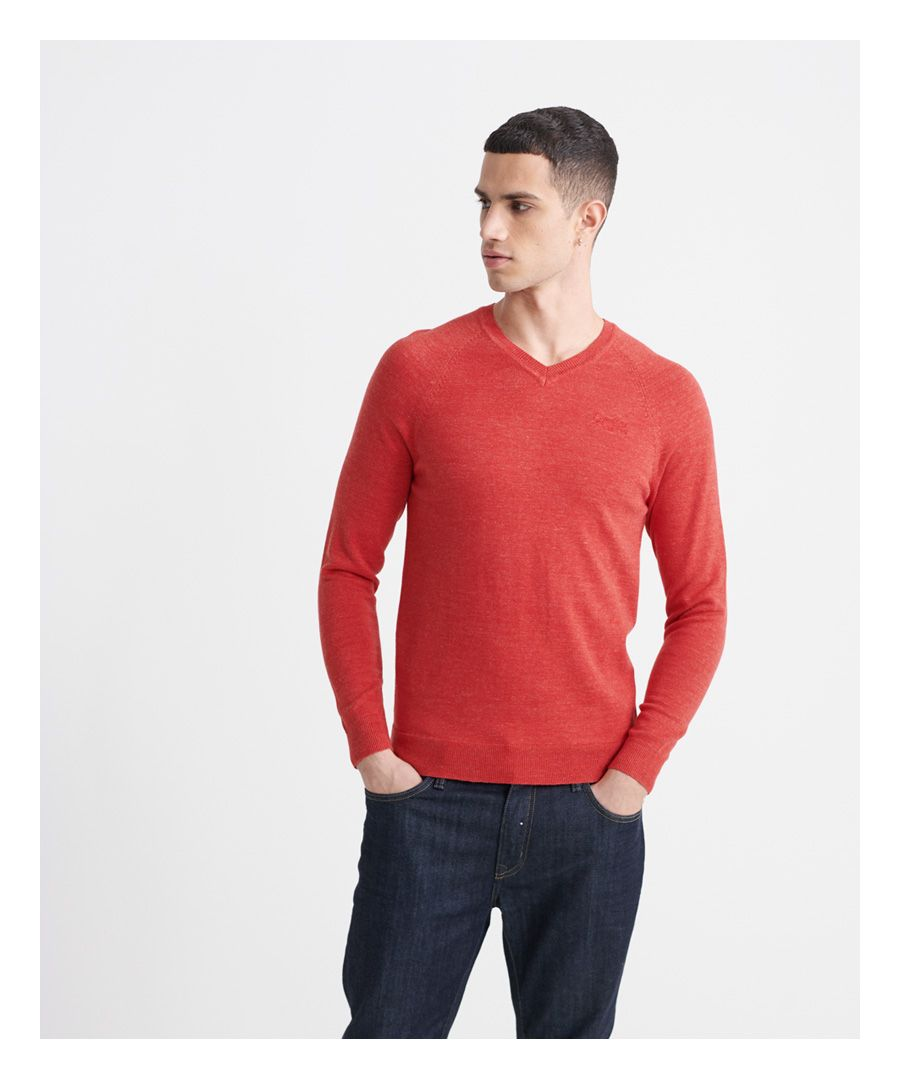 Image for Superdry Orange Label Cotton V-Neck Jumper