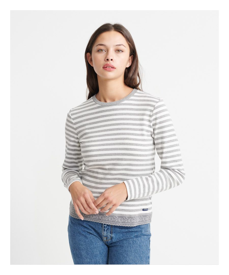 Image for Superdry Lace Hem Long Sleeve Top