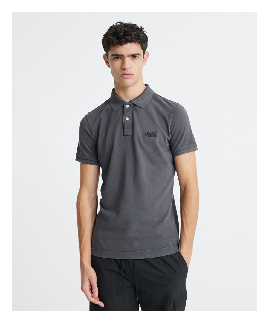 Image for Superdry Organic Cotton Vintage Destroyed Pique Polo Shirt