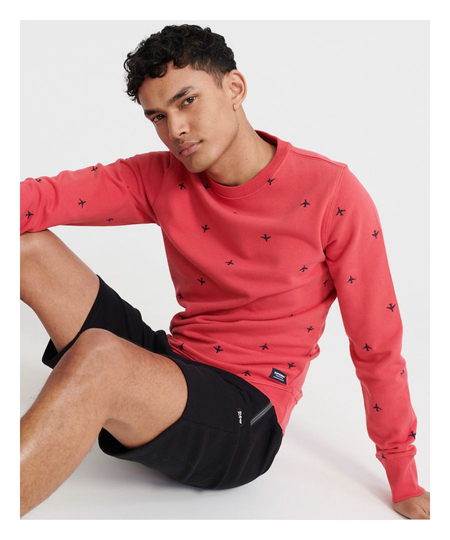 Image for Superdry All Over Embroidery Loopback Crew Sweatshirt