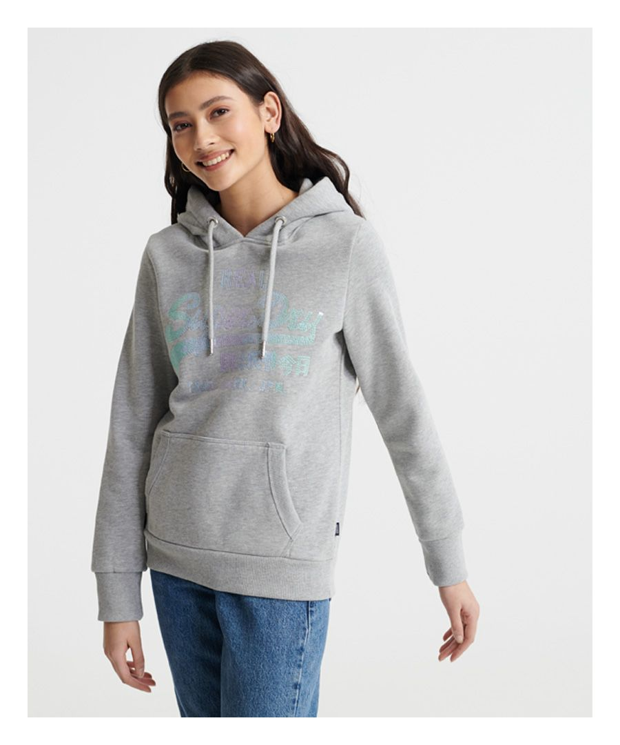 Image for Superdry Vintage Logo Sequin Fleece Hoodie