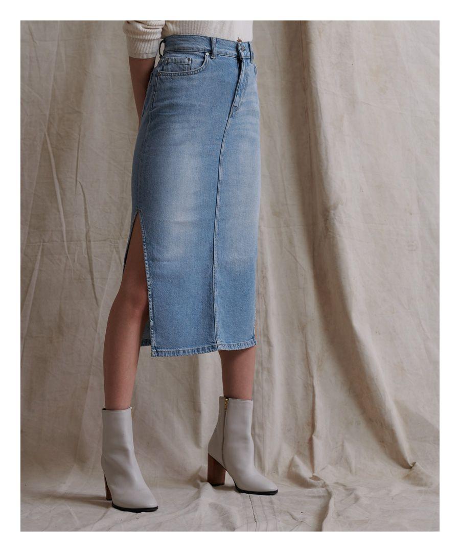 Image for Superdry Denim Side Split Midi Skirt