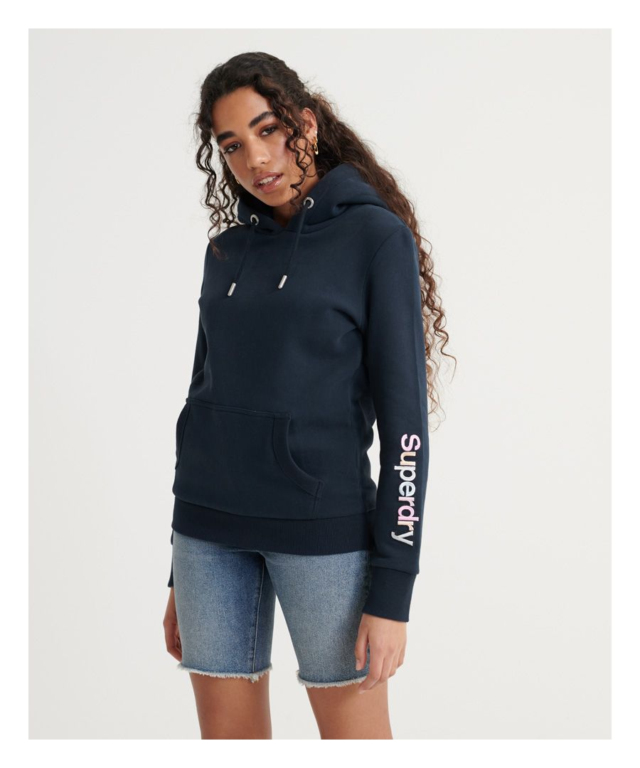 Image for Superdry Swiss Logo Embroidered Sleeve Brushed Hoodie