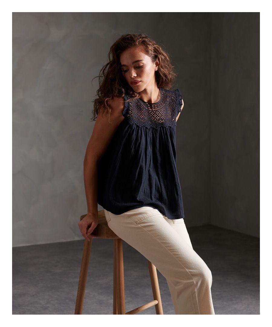 Image for Superdry Ellison Textured Lace Vest Top