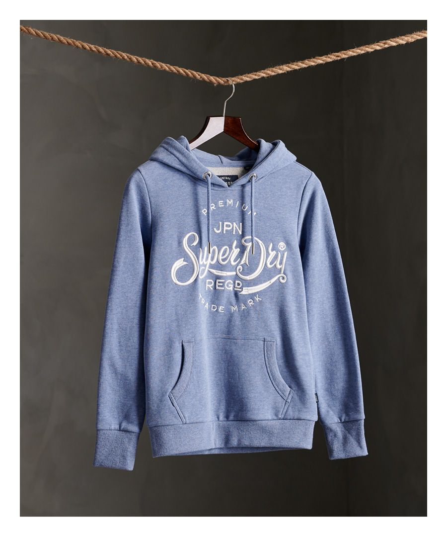 Image for Superdry Premium Script Embroidered Loopback Hoodie