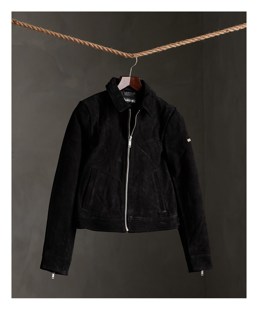 Image for Superdry Cropped Suede Harrington Jacket