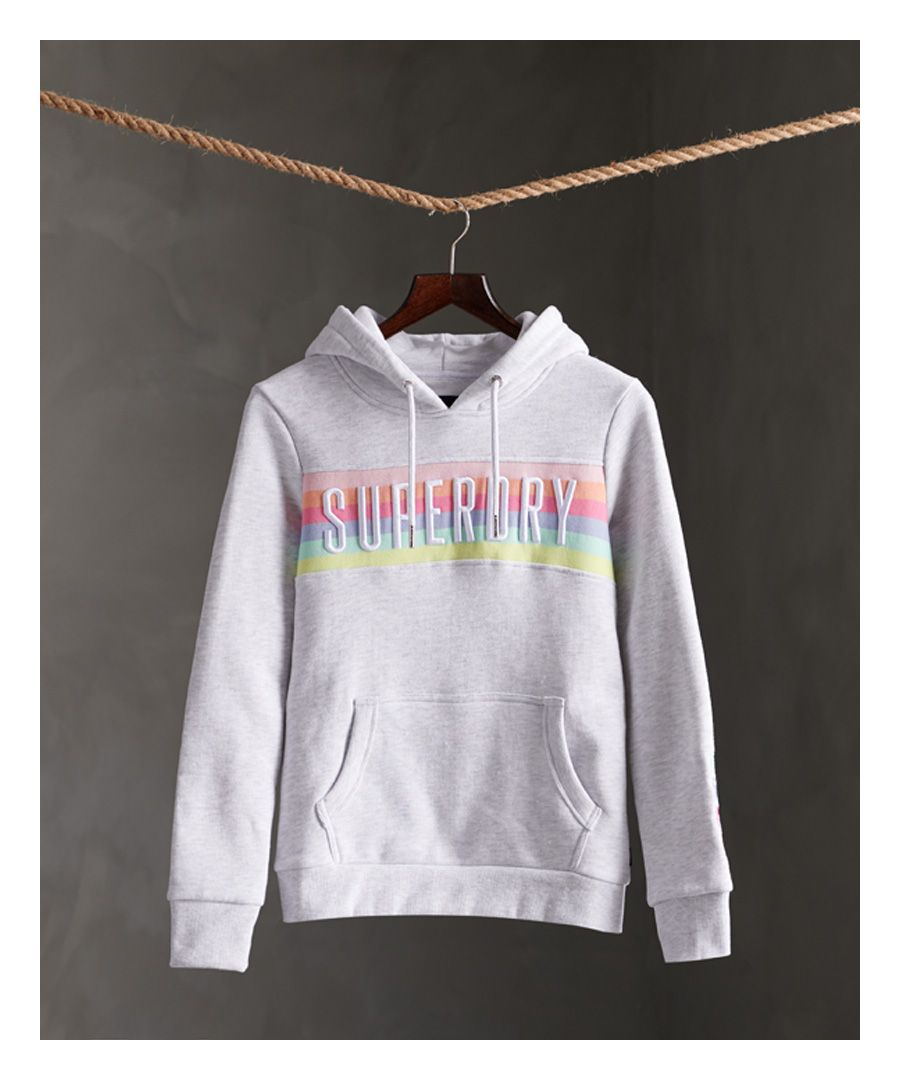 Image for Superdry Super Block Rainbow Panel Brushed Hoodie