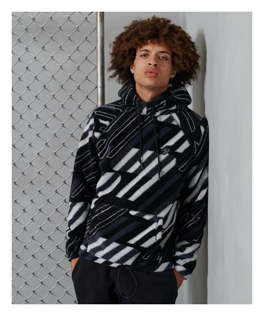 Image for Superdry Sportstyle Black All Over Print Sherpa Hoodie