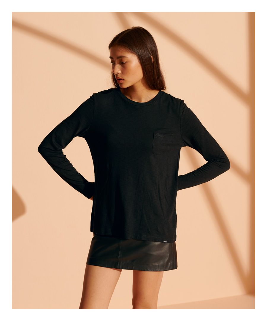 Image for Superdry Organic Cotton Scripted Long Sleeved Crew Top