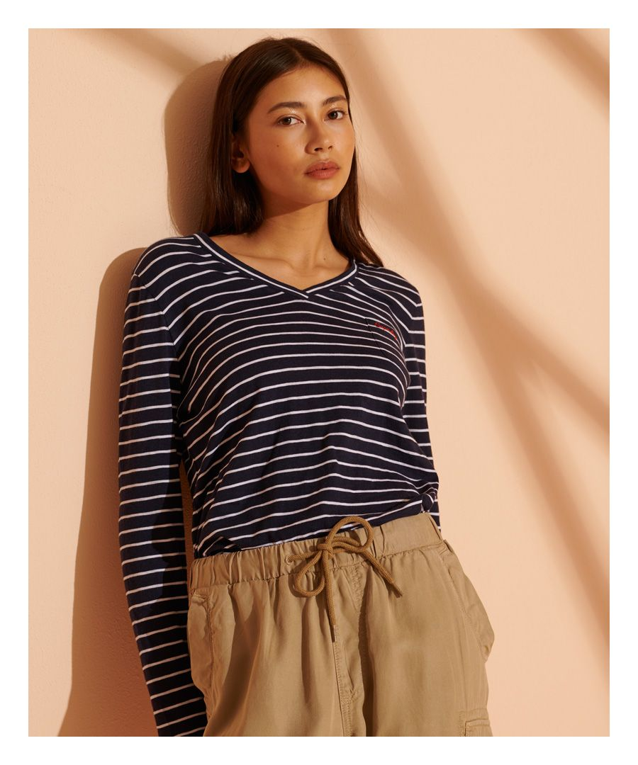 Image for Superdry Organic Cotton Scripted Striped V-Neck Top