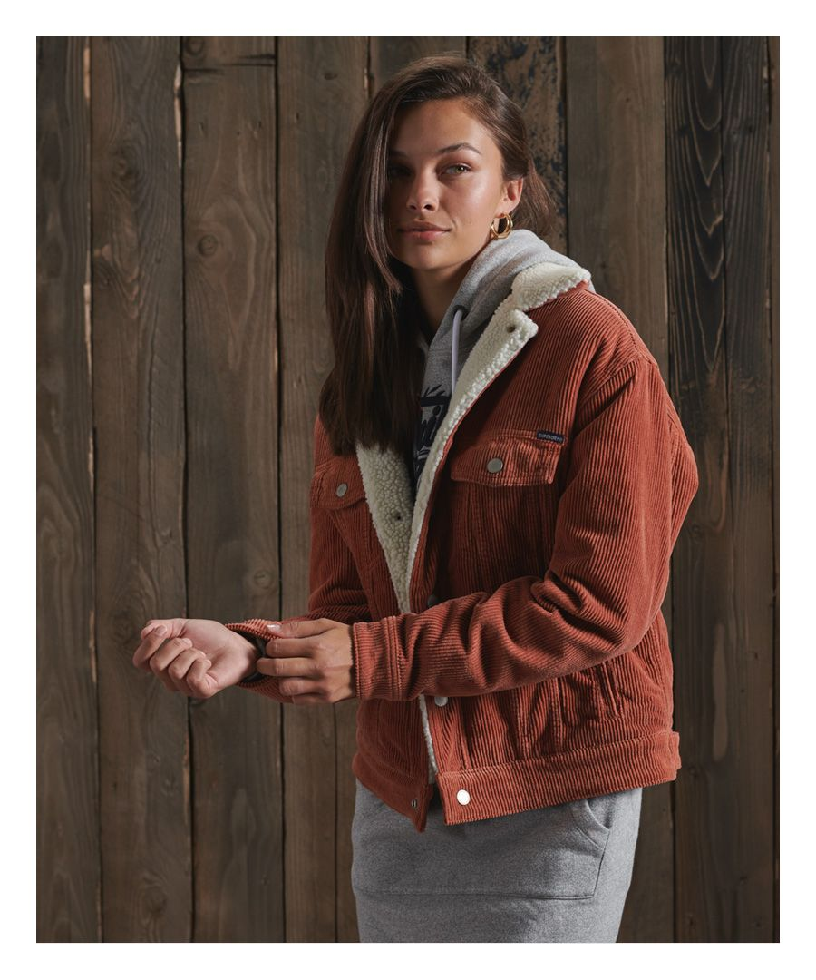 Image for Superdry Cord Boyfriend Sherpa Jacket