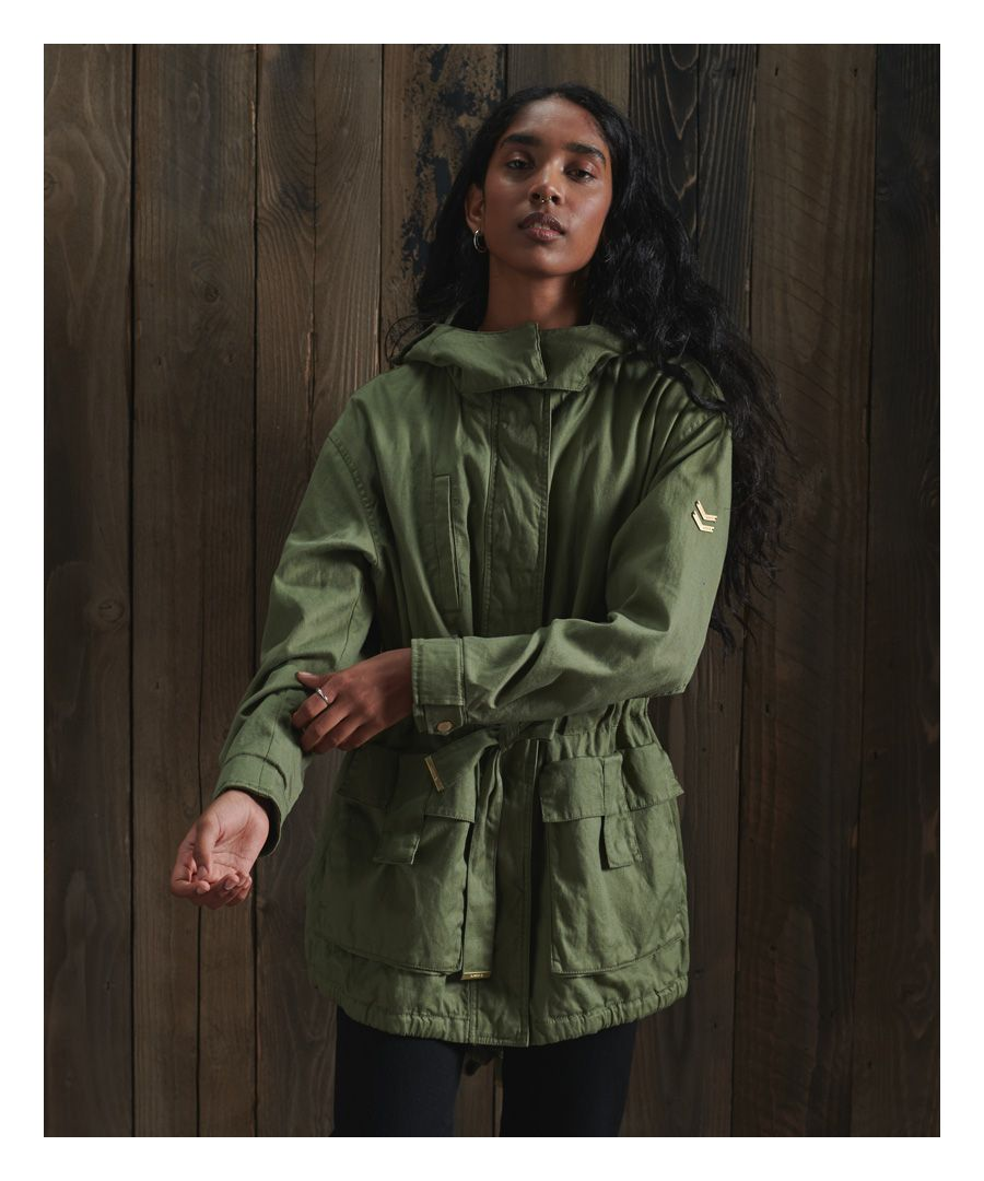 Image for Superdry Linen Mix Rookie Parka Coat