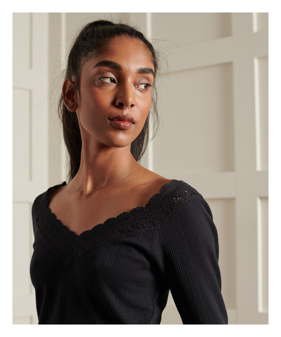 Image for Superdry Lace Pointelle Long Sleeve Top