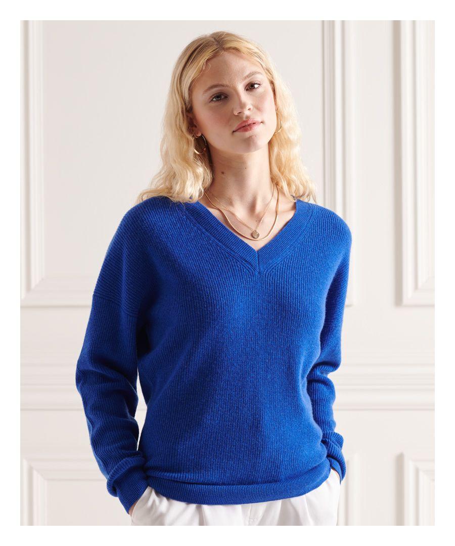 Image for Superdry Wool Cashmere Ribbed V-Neck Jumper
