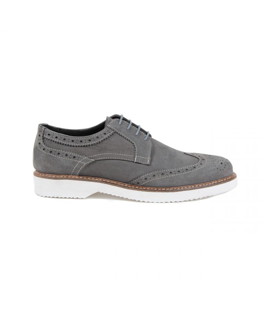 Image for V 1969 Italia Mens Brogue Shoe Grey HARRY 5141 NABUK VAR 7