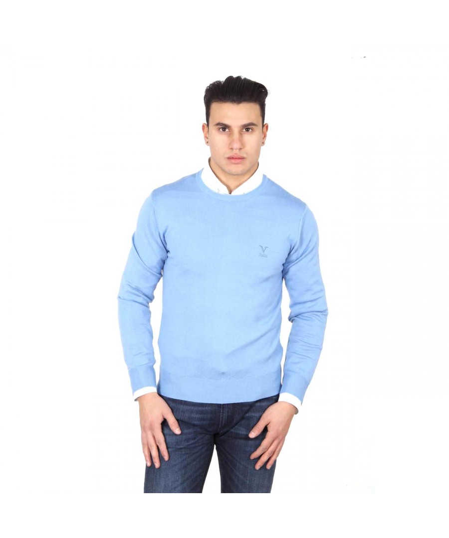 Image for V 1969 Italia mens round neck sweater 9800 GIROCOLLO AZZURRO