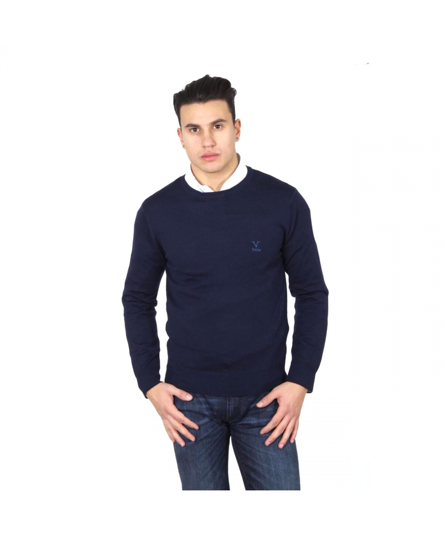 Image for V 1969 Italia mens round neck sweater 9800 GIROCOLLO BLU NAVY