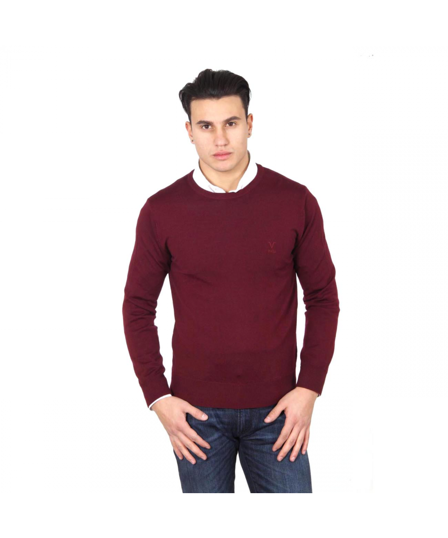 Image for V 1969 Italia mens round neck sweater 9800 GIROCOLLO BORDEAUX