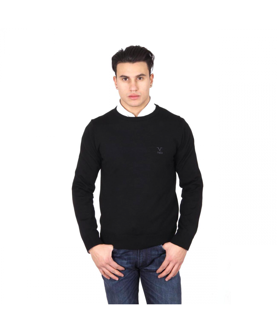 Image for V 1969 Italia mens round neck sweater 9800 GIROCOLLO NERO