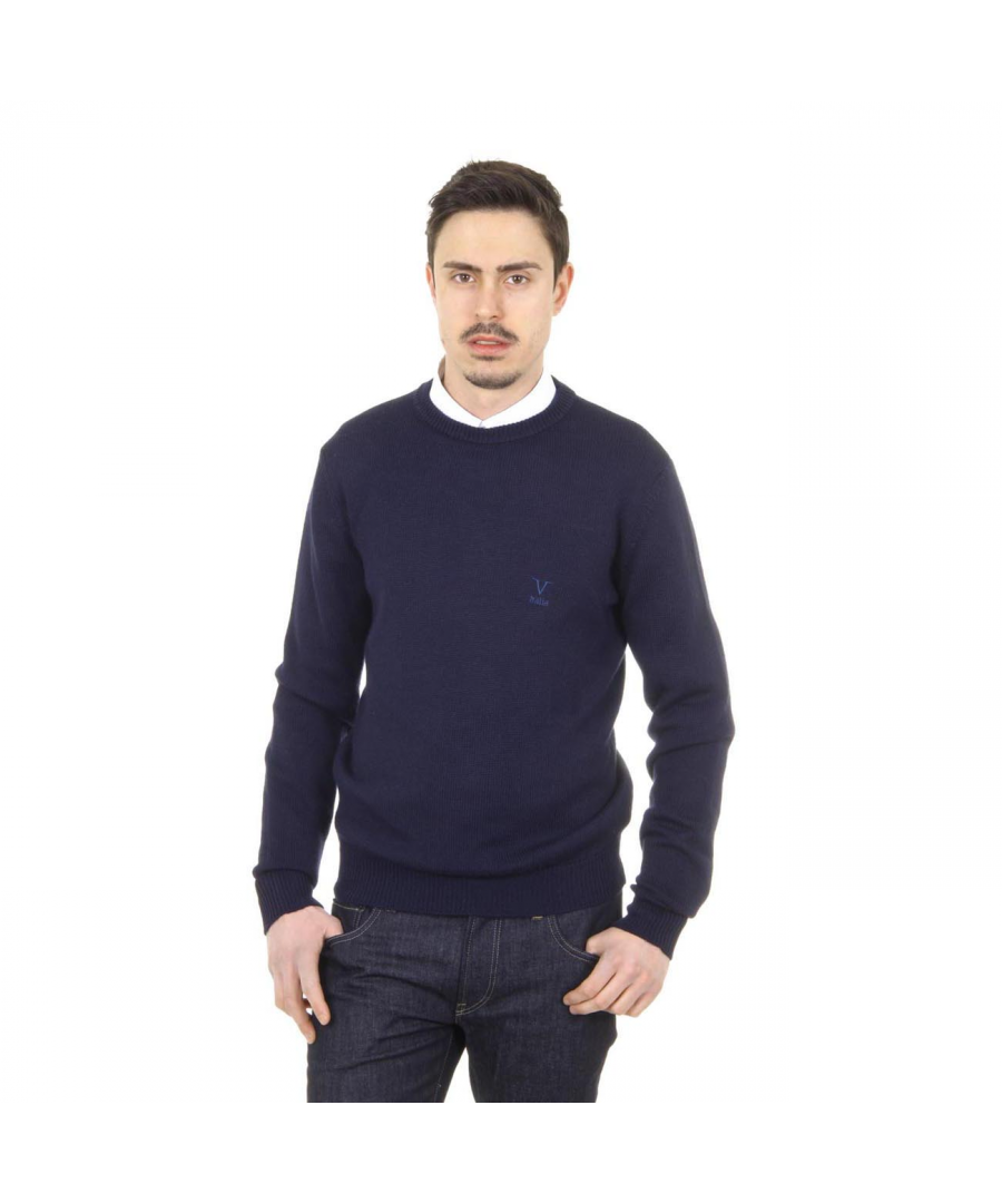 Image for V 1969 Italia mens round neck sweater 9802 GIROCOLLO BLU NAVY