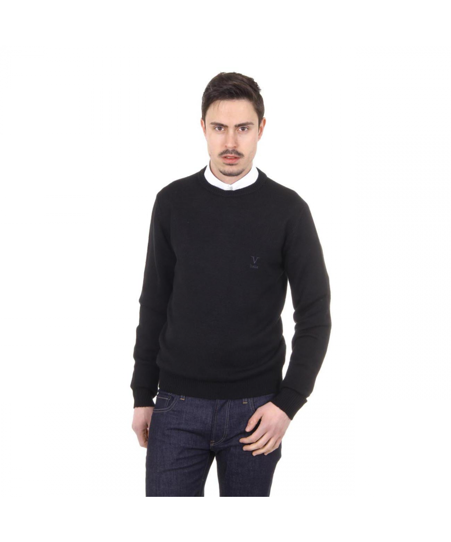 Image for V 1969 Italia mens round neck sweater 9802 GIROCOLLO NERO