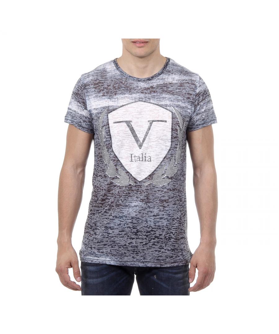 Image for V 1969 Italia Mens T-shirt Short Sleeves Round Neck Black LOGAN