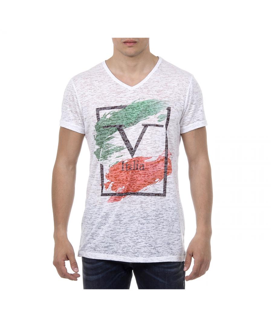 Image for V 1969 Italia Mens T-shirt Short Sleeves V-Neck White LUCAS