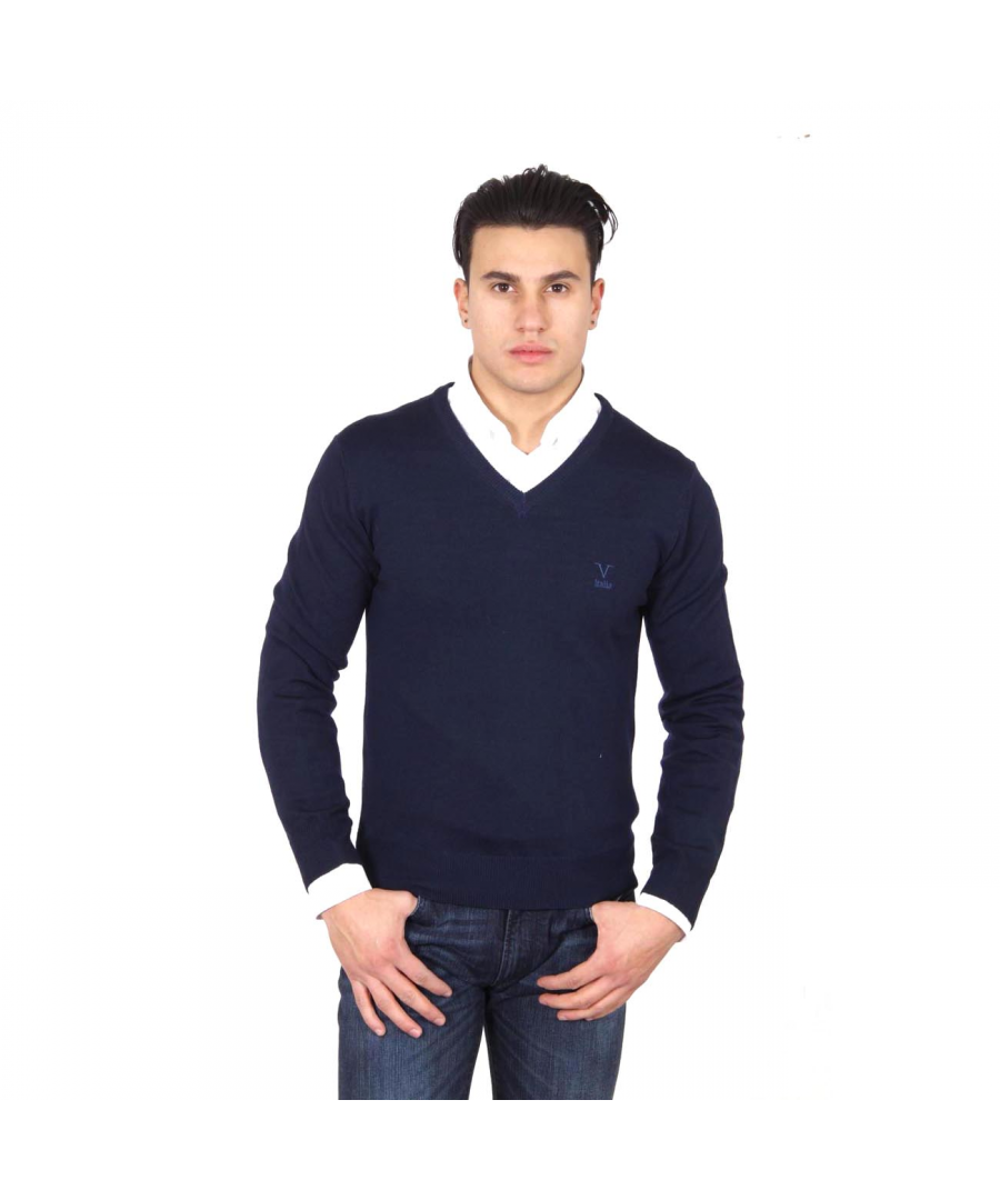 Image for V 1969 Italia mens V neck sweater 9801 SCOLLO V BLU NAVY