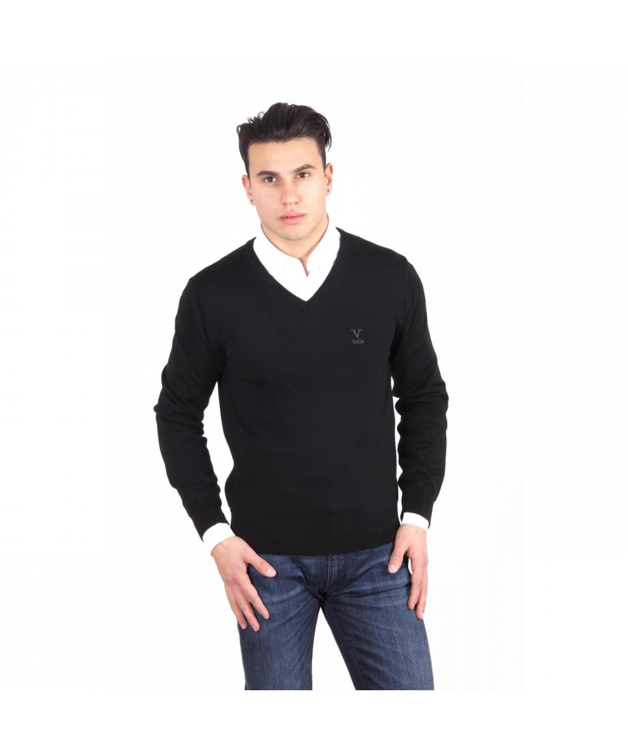Image for V 1969 Italia mens V neck sweater 9801 SCOLLO V NERO