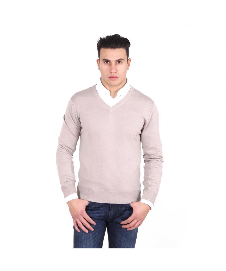 Image for V 1969 Italia mens V neck sweater 9801 SCOLLO V SABBIA