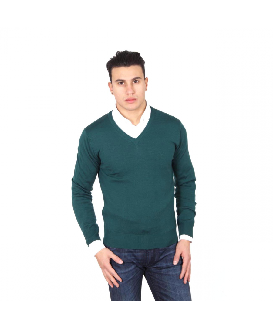 Image for V 1969 Italia mens V neck sweater 9801 SCOLLO V VERDONE