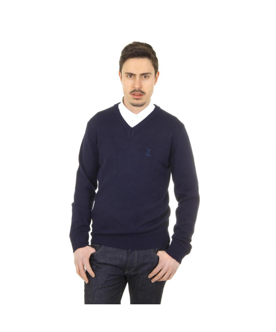 Image for V 1969 Italia mens V neck sweater 9803 SCOLLO V BLU NAVY