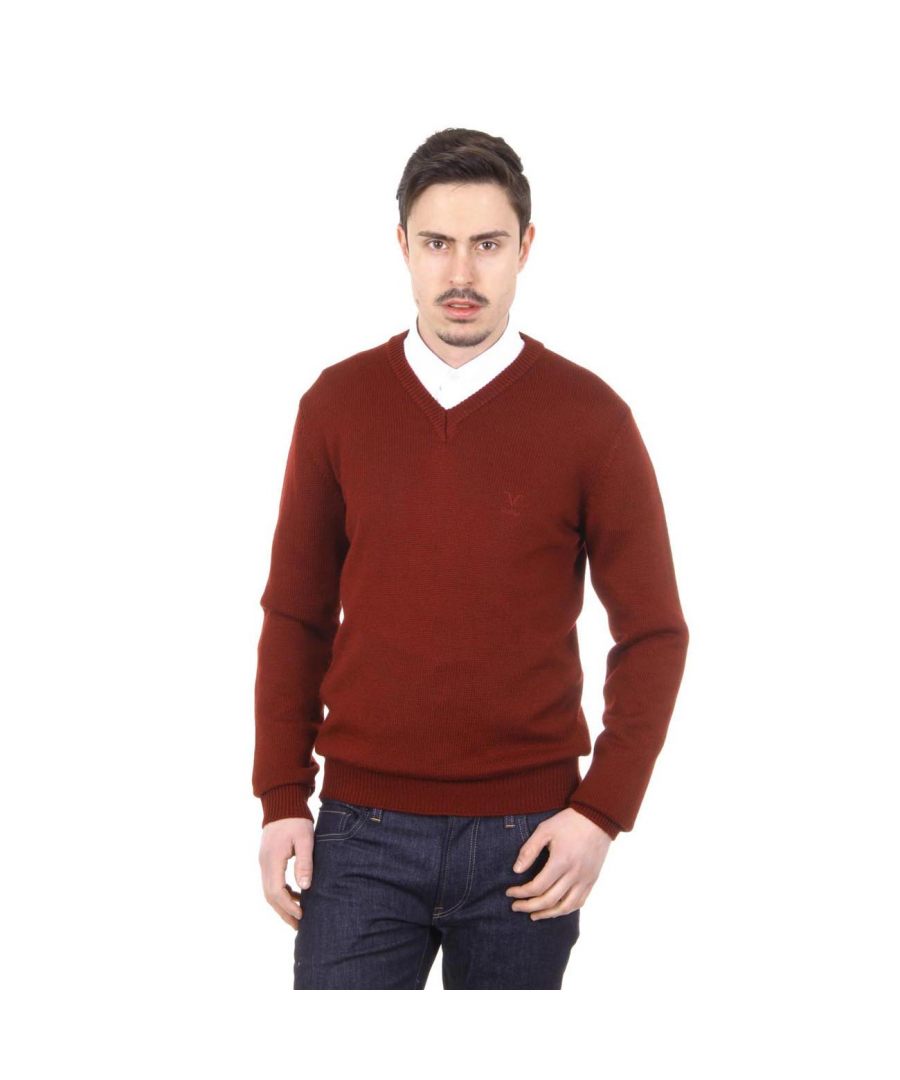 Image for V 1969 Italia mens V neck sweater 9803 SCOLLO V BORDEAUX