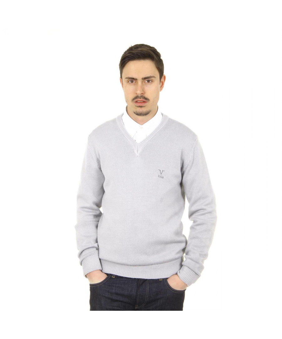 Image for V 1969 Italia mens V neck sweater 9803 SCOLLO V GRIGIO MEDIO