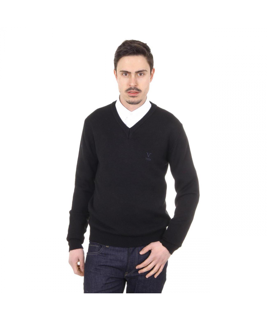 Image for V 1969 Italia mens V neck sweater 9803 SCOLLO V NERO