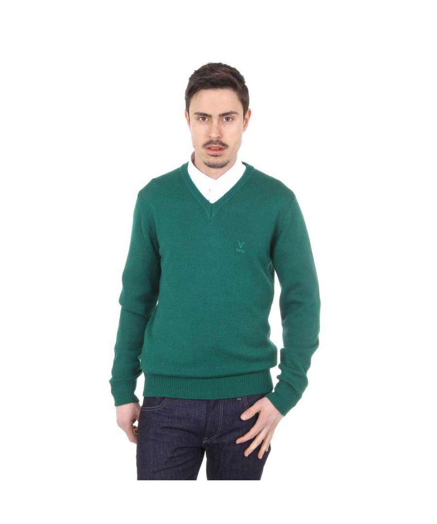 Image for V 1969 Italia mens V neck sweater 9803 SCOLLO V VERDONE