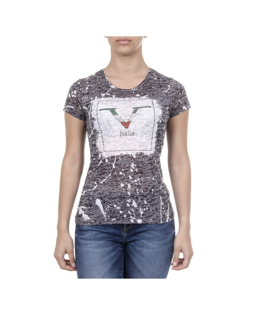 Image for V 1969 Italia Womens T-shirt Short Sleeves Round Neck Black AVA