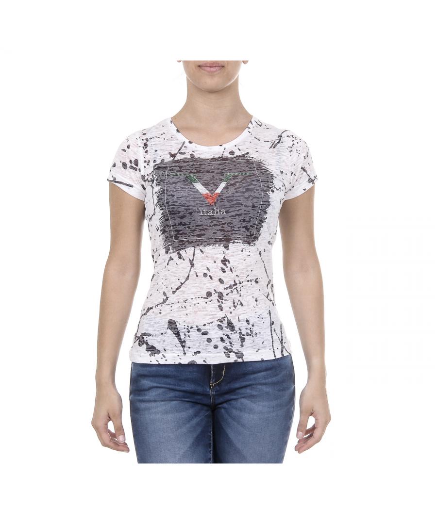 Image for V 1969 Italia Womens T-shirt Short Sleeves Round Neck White AVA