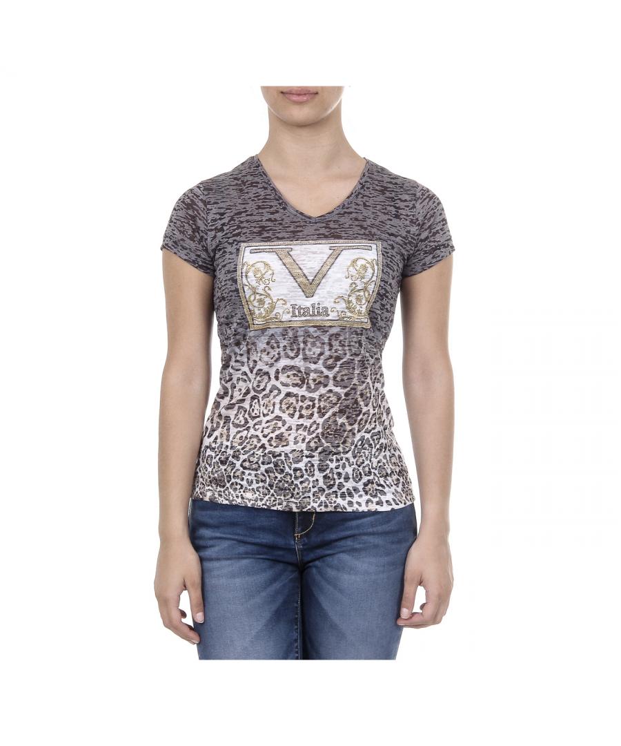 Image for V 1969 Italia Womens T-shirt Short Sleeves V-Neck Black EVELYN