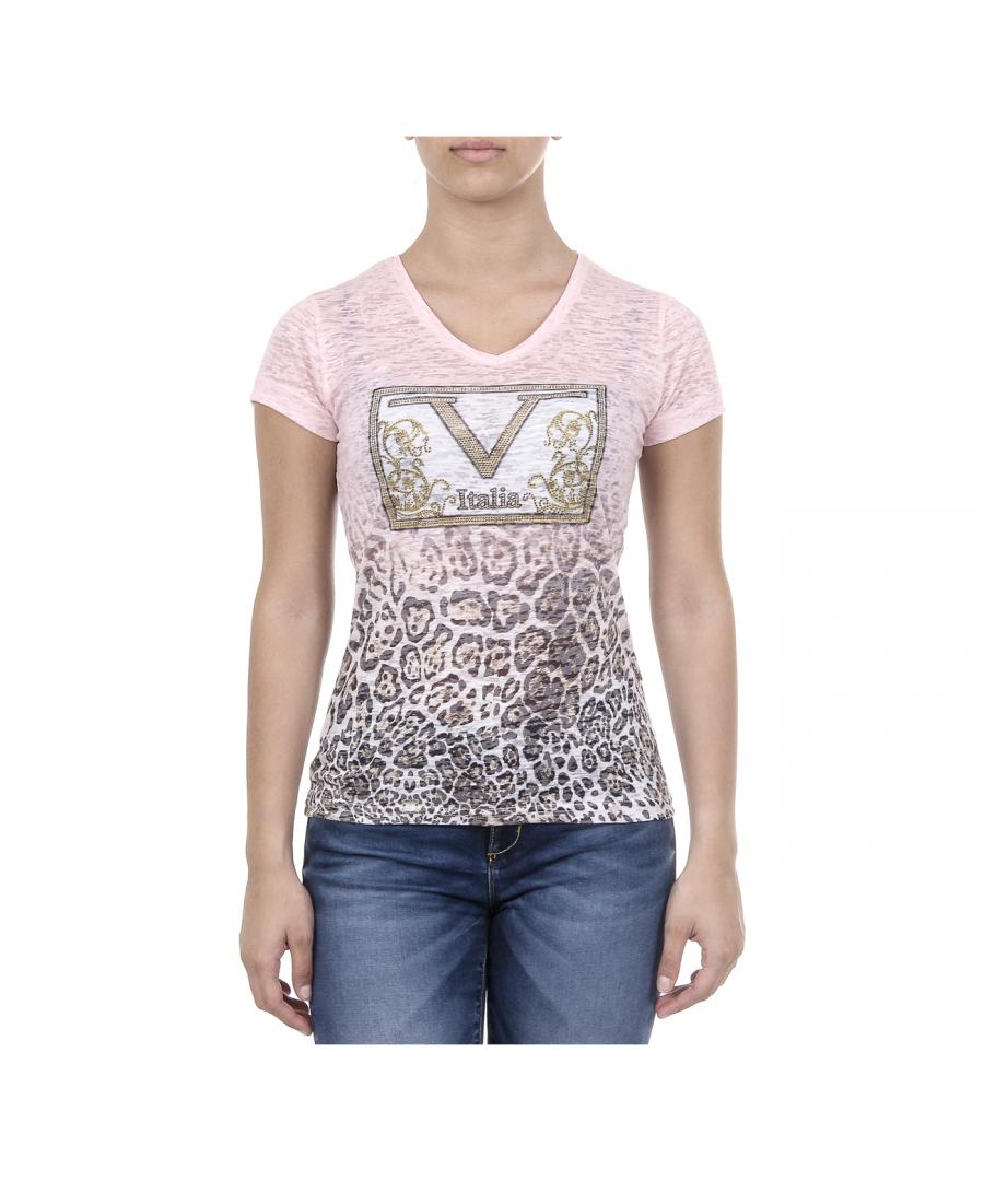 Image for V 1969 Italia Womens T-shirt Short Sleeves V-Neck Pink EVELYN