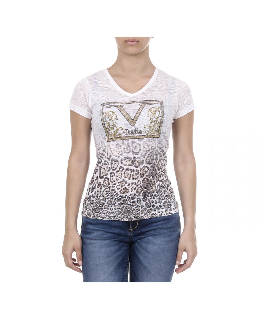 Image for V 1969 Italia Womens T-shirt Short Sleeves V-Neck White EVELYN
