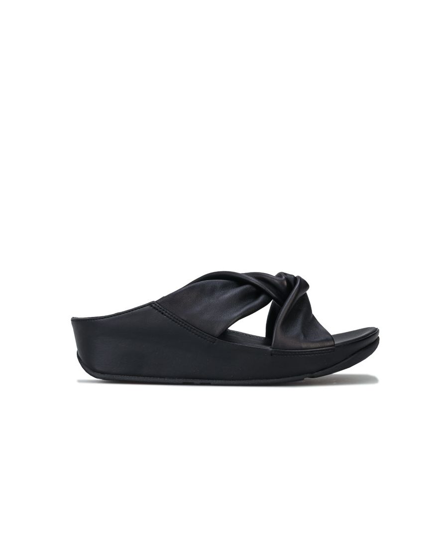 Image for Women's Fit Flop Twiss Leather Slide Sandals in Black