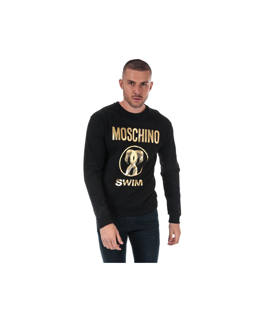 Image for Men's Moschino Swim Logo Crew Neck Sweatshirt in Black