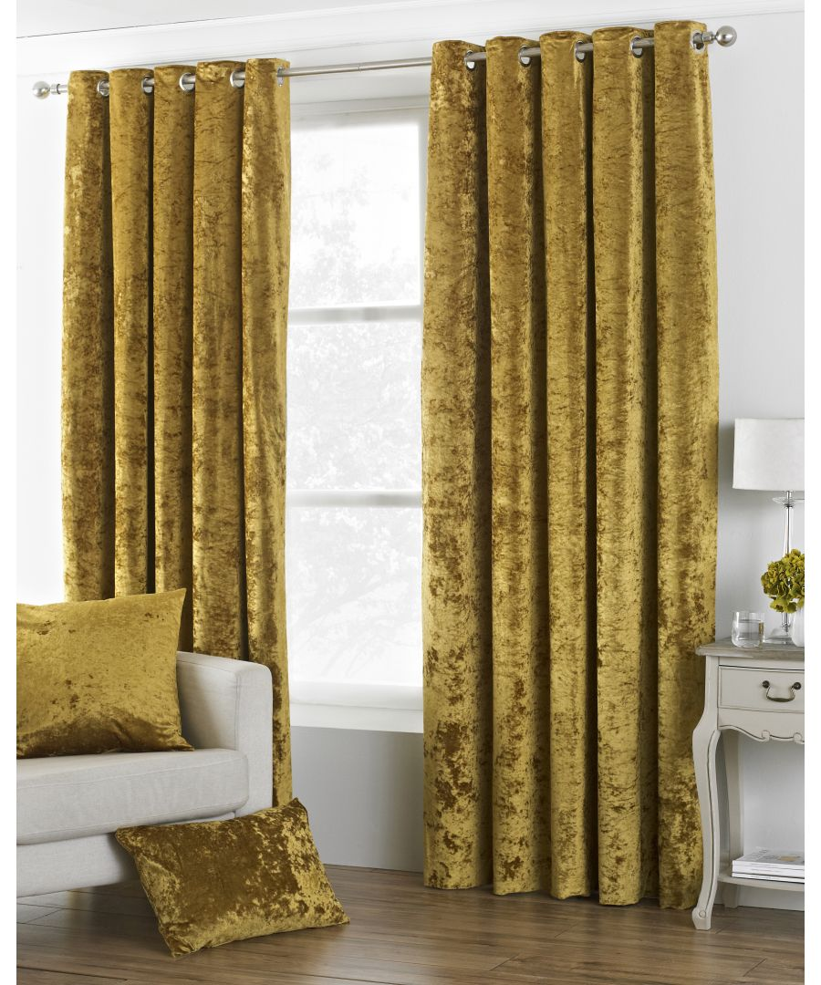 Image for Verona Crushed Velvet Look Eyelet Curtains in Ochre