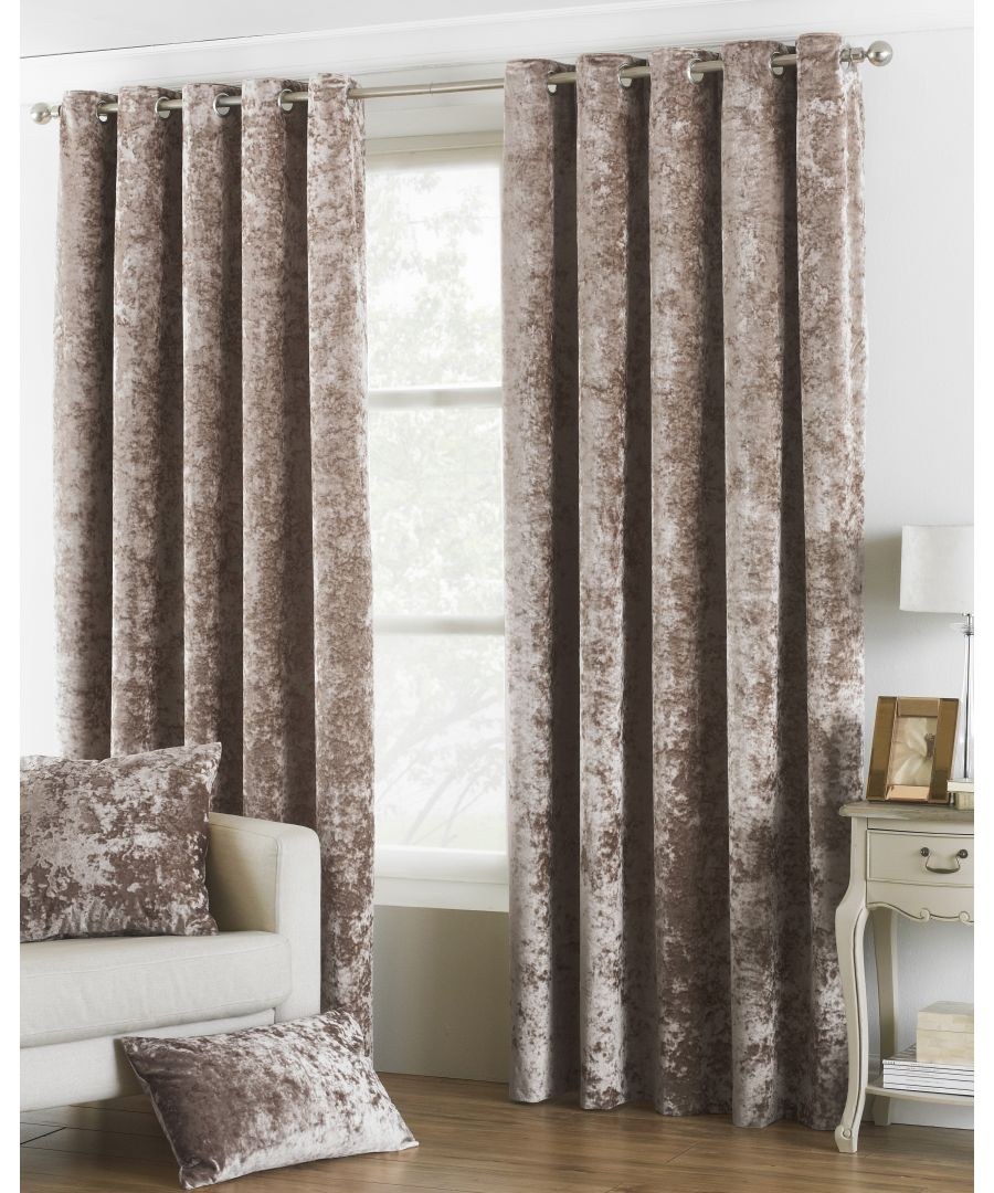 Image for Verona Crushed Velvet Look Eyelet Curtains in Oyster