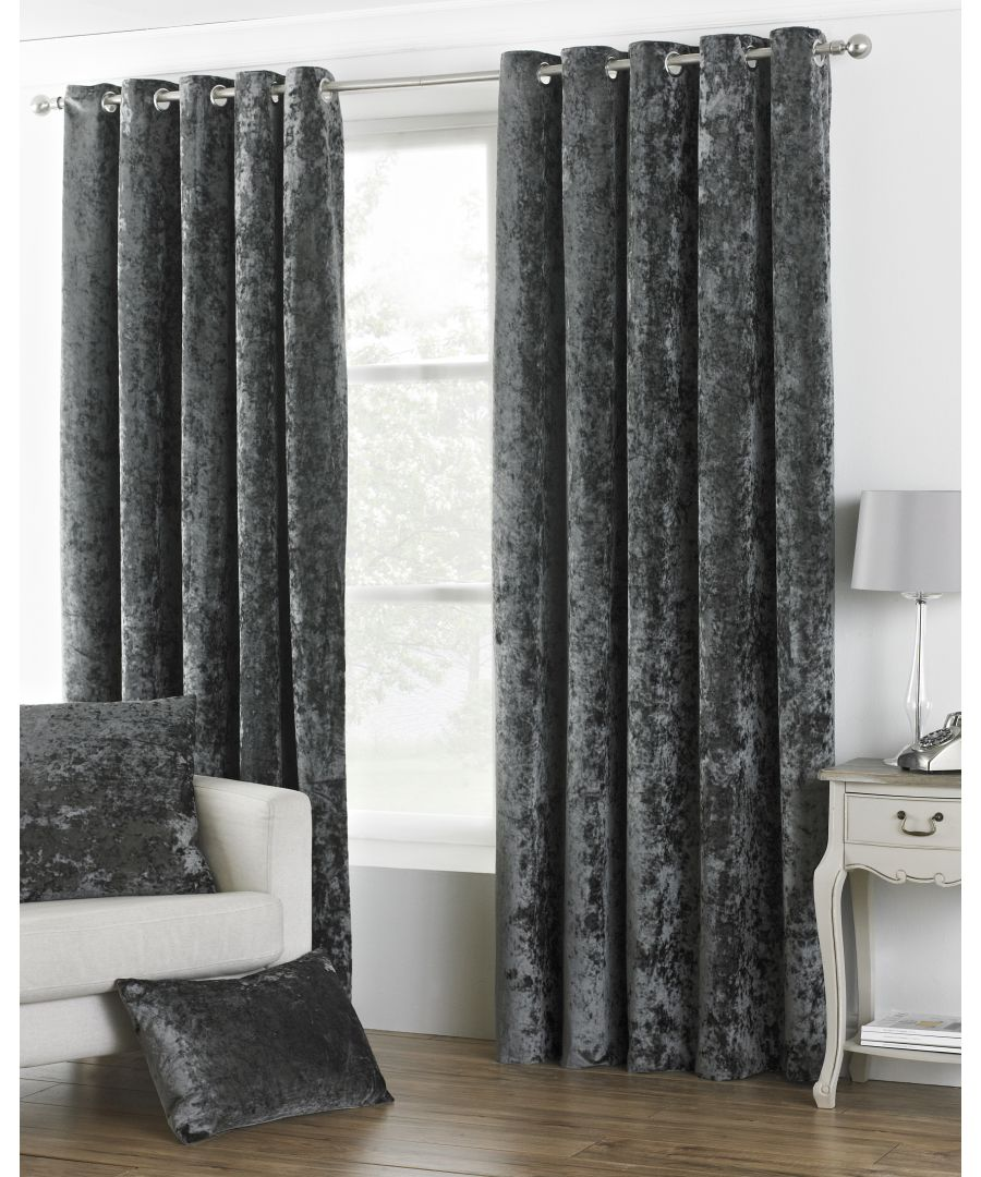 Image for Verona Crushed Velvet Look Eyelet Curtains in Pewter