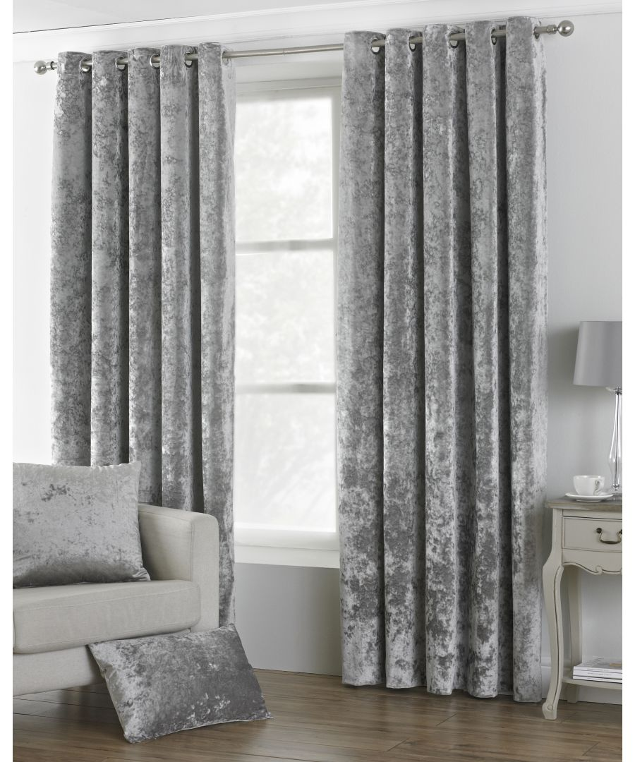 Image for Verona Crushed Velvet Look Eyelet Curtains in Silver