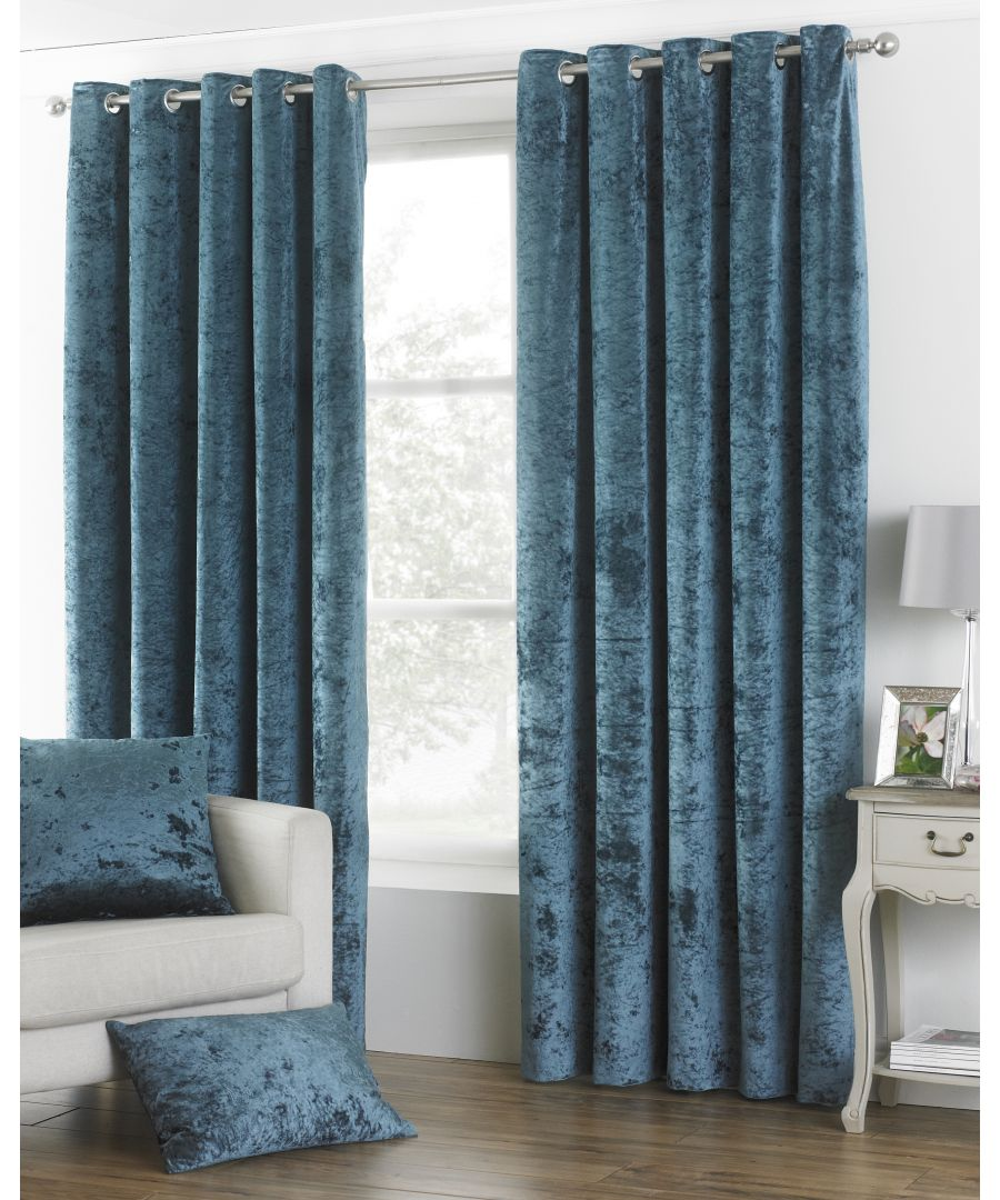 Image for Verona Crushed Velvet Look Eyelet Curtains in Teal