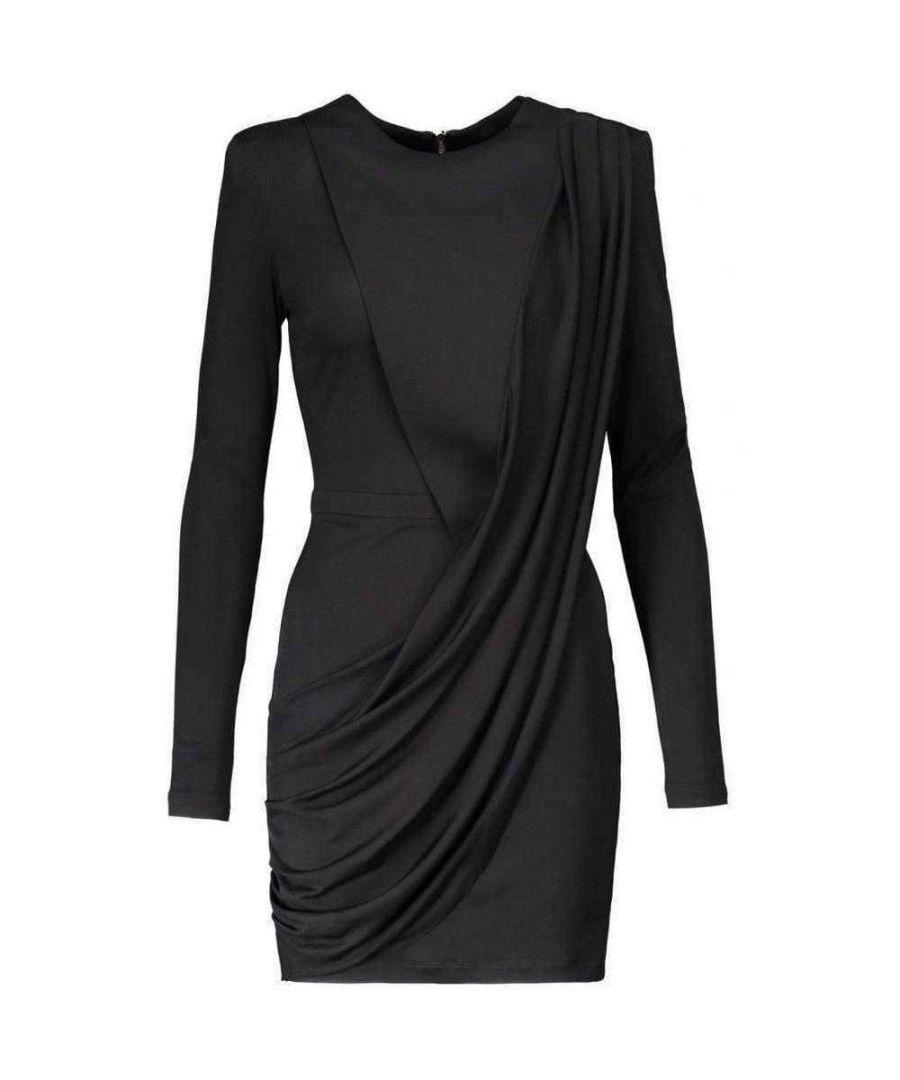 Image for Balmain Black Voile Draped Mini Dress